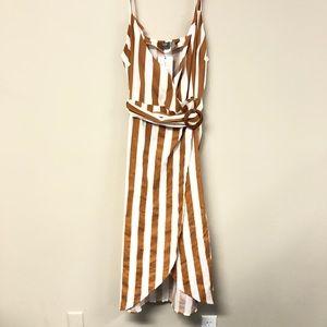 ASOS Wrap Dress Brown/White w/Belt NWT Size 14